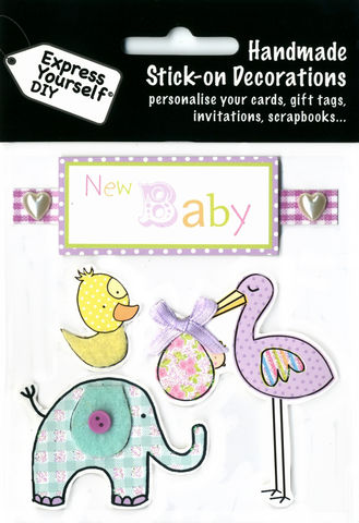 New,Baby,Tag,With,Stork,,Elephant,&,Duck,Craft, Baby, Stork, Elephant, Duck