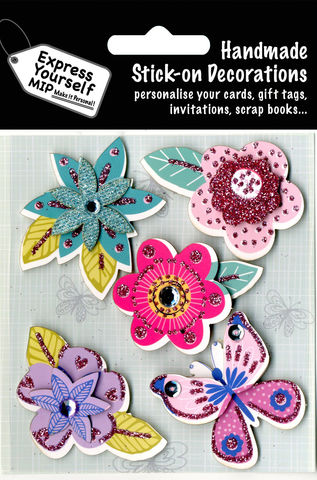 Flowers,&,Butterfly,Craft, Flowers, Butterfly , Animal, Pink, Blue, Purple, Topper