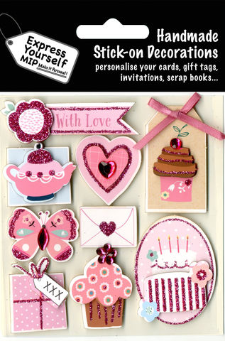 Tea,&,Cakes,Craft, Tea, Cakes, Butterfly, Eating, With Love Banner, Cupcake, Pink, Heart Shape, Envelope, Topper