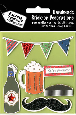 Beer,&,Bunting,Craft, Beer, Bunting, Comb, Moustache, Awesome Banner, Beer Mug, Bottle, Male, Green, Topper