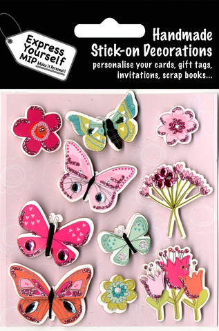 Butterflies,&,Flowers,Craft, Butterflies, Flowers, Pink, Bunch Of Flowers, Topper