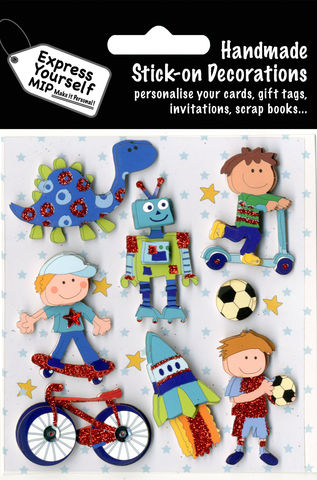 Juvenile,Boy,Fun,time,Craft, Juvenile, Boy, Fun Time, Bicycle, Rocket ,Football, Robot, Dinosaur, Skateboard, Stars, Topper
