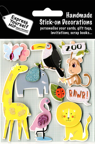 Zoo,Animals,Craft, Zoo Animals, Giraffe, Lion, Parrot, Monkey, Elephant, ladybird, Flamingo, Butterfly,  Topper