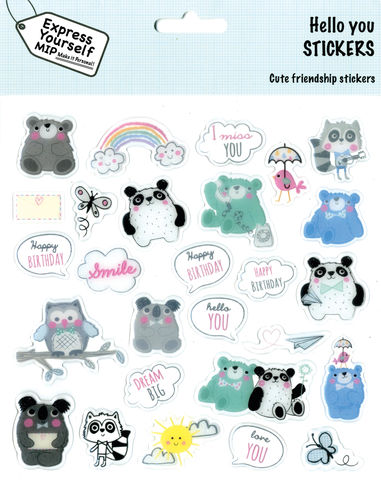 Stickers,-,Hello,You,Craft, DIY, MIP, Make It Personal, Personalised, Stickers, On Your Birthday, Stick On Decoration, Fun, Icons, Banners, Juvenile Fantasy, Bear, Animals, Magical, Party, Clouds