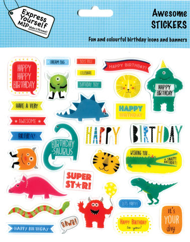 Stickers,-,Juvenile,Boy,(Awesome),Craft, DIY, MIP, Make It Personal, Personalised, Stickers, On Your Birthday, Stick On Decoration, Fun, Icons, Banners, Magical, Party, Juvenile Boy, Animals, Awesome