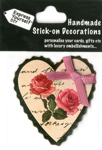 Handmade,(Mini),stick,on,Parts,-,Heart,With,Ribbon,&,Roses,stick-on captions, craft, handmade, Ribbon, Heart, Pink, Roses