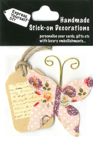 Handmade,(Mini),stick,on,Parts,-,Butterfly,&,Tag,stick-on captions, craft, handmade, Butterfly, Pink, Tag