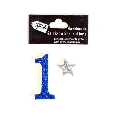 Handmade,stick,on,numbers,-,Mini,Blue,Number,1,stick-on numbers, craft, handmade, glitter, Blue glitter
