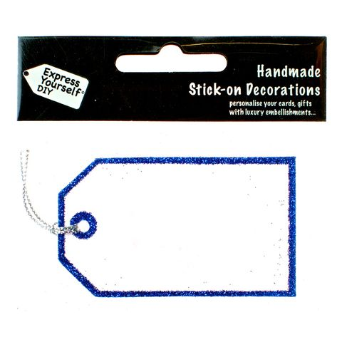 Handmade,stick,on,tags,-,Mini,Blue,glitter,tag,stick-on numbers, craft, handmade, glitter, Blue glitter, tag