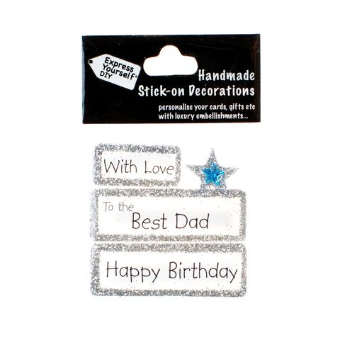 Handmade,stick,on,Captions,-,Best,Dad,stick-on captions, craft, handmade, glitter, silver glitter,Star