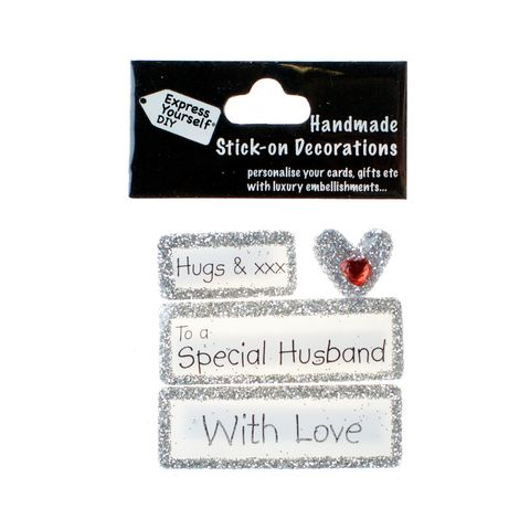 Handmade,stick,on,Captions,-,Special,Husband,stick-on captions, craft, handmade, glitter, silver glitter,heart