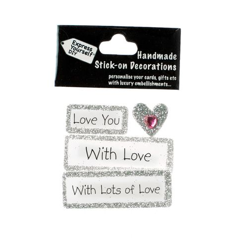 Handmade,stick,on,Captions,-,Love,stick-on captions, craft, handmade, glitter, Silver glitter,heart