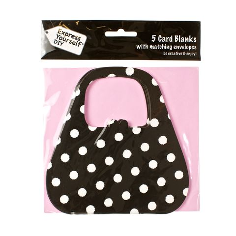 Black,Spotty,Bag,Craft, Black, Card Blanks, Bag, Spotty, Shaped