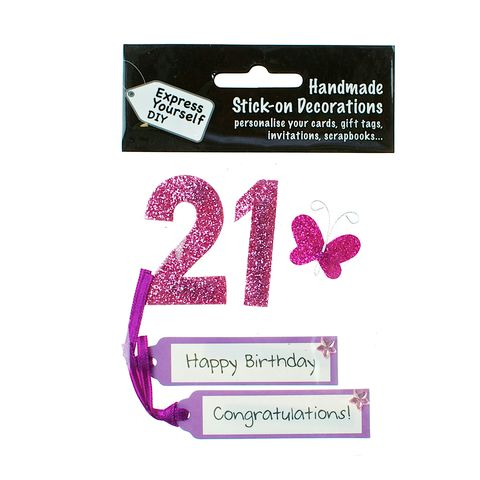 21st,Birthday,Craft, 21st, Birthday, Tags, Butterfly,Pink