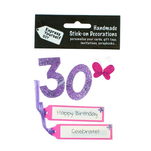 30th,Birthday,Craft, 30th, Birthday, Tags, Butterfly,Pink