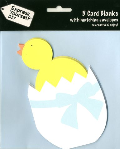 Shaped,Card,(Blank),-,Chicken,In,Egg,Craft, Easter, Chicken In Egg, Yellow, Blue Envelope, Shaped Card