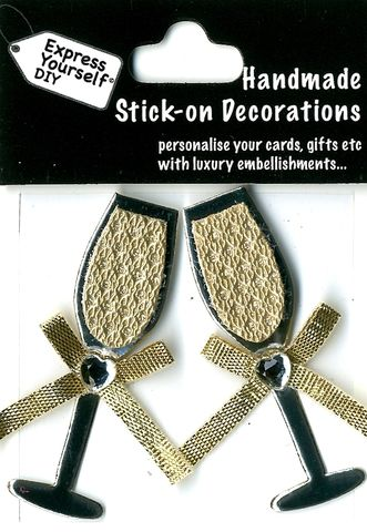Handmade,(Mini),Stick,On,Parts,-,Champagne,Flutes,(Gold),Stick-on captions, craft, Champagne Flutes, Gold, Mini Toppers