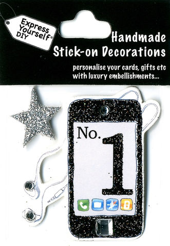 Handmade,(Mini),Stick,On,Parts,-,Iphone,&,Star,Stick-on captions, craft, Iphone, star, Music Player, Mini Toppers