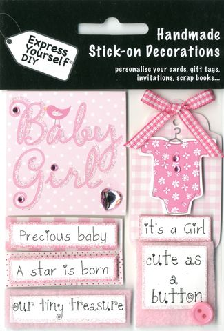 Baby,Captions,(Girl),Craft, Baby Captions, Girl, Birth, Pink, Topper
