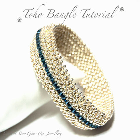 Toho,Bangle,Tutorial,Jewelry,Bracelet,beadweaving,beadwork,beaded_bangle,pattern,bangle,RAW,right_angle_weave,bangle_tutorial,instructions,beaded,toho seed beads,swarovski crystals