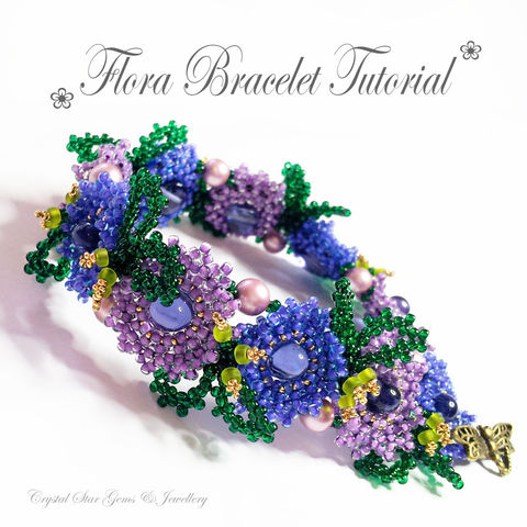 Flora,Bracelet,Tutorial,Patterns,Beading,Jewelry,jewellery,tutorial,beading,bracelet,gumdrop,flower,CRAW,seed_bead_flower,Gumdrops,Swarovski Pearls,No11 Seed Beads,No8 Seed Beads,No15 Seed Beads,24kt gold Charlottes,Dragonfly Clasp