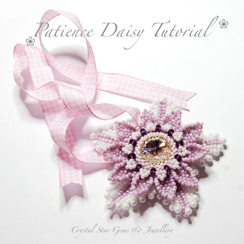 Patience,Daisy,Tutorial,Patterns,Beading,Jewelry,tutorial,beading,flower,beaded_flower,bead,pattern,patience_daisy,daisy,beading_pattern,flower_pendant,flower_tutorial,No11 Seed Beads,No15 Seed Beads,18mm Swarovski Rivoli,15 00 Gold plated Charlottes,Fireline,No