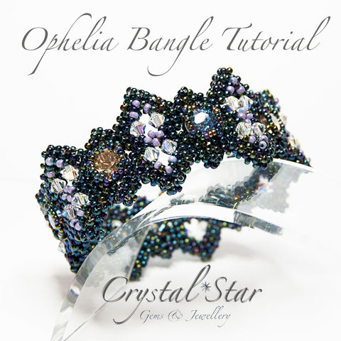 Ophelia,Bangle,Tutorial,Patterns,jewellery,tutorial,beading,beaded,bead,seed_bead,crystal,bangle,corono,bangle_tutorial,bangle_pattern,pattern,No11 Seed Beads,4mm bicones,No15 Seed Beads,39ss Swarovski Chatons