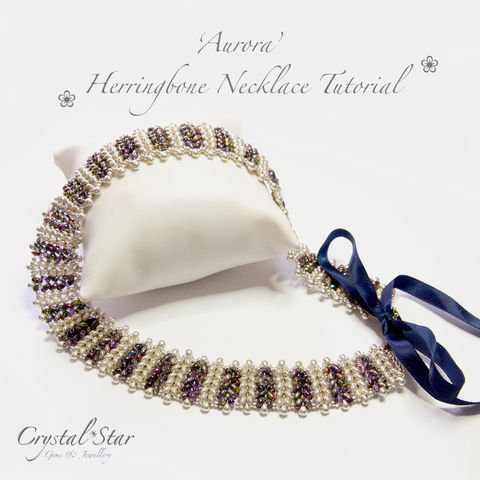 Herringbone,Necklace,'Aurora',Tutorial,Patterns,pattern,jewellery,tutorial,beading,beaded,bead,twin_bead,aurora,necklace,herringbone,instructions,drop_beads,No11 Seed Beads,twin beads,round beads,ribbon,thread,miyuki drop beads