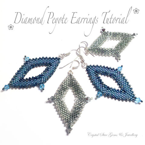 Diamond,Peyote,Earring,Tutorial,Patterns,Beading,Jewelry,Earrings,tutorial,EBW_tutorial,long_earrings,diamond,peyote,diamond_peyote,diamond_shape,Shepherd Hooks,jump rings,4mm Swarovski crystals,Miyuki Delica Beads No11,3mm Swarovski crystals