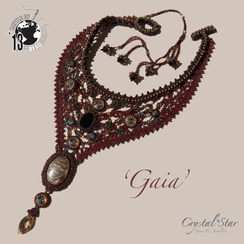 One of a Kind - 'Gaia' - Beadwork Necklace in Freeform Peyote - product image