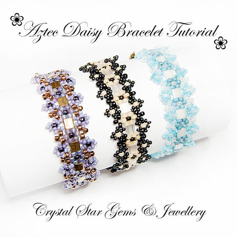 Aztec,Daisy,Bracelet,Beading,Tutorial,Patterns,Jewelry,bracelet,aztec,daisy,beading,beaded,tutorial,jewellery,easy_tutorial,easy_beading,EBW_Team,tila beads,toho seed beads,miyuki seed beads