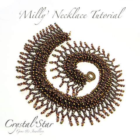 Milly',Necklace,Tutorial,Patterns,Beading,Jewelry,tutorial,beading,beaded,bead,necklace,pattern,instructions,collar,netting,CRAW,No11 Seed Beads,round beads,thread,No15 Seed Beads,4mm pearls,4mm Swarovski bicones