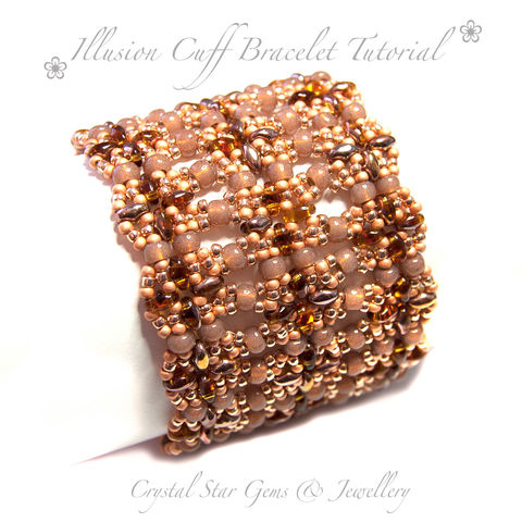Illusion,Cuff,Bracelet,Tutorial,Patterns,Beading,tutorial,beading,beaded,bead,seed_bead,cuff,amber,crystal,SuperDuo,Twin_Bead,No11 Seed Beads,4mm rounds,4mm faceted rounds,4mm bicones,No15 seed beads,clasp,SuperDuos,Twin beads,9 hole clasp,6 hole clasp