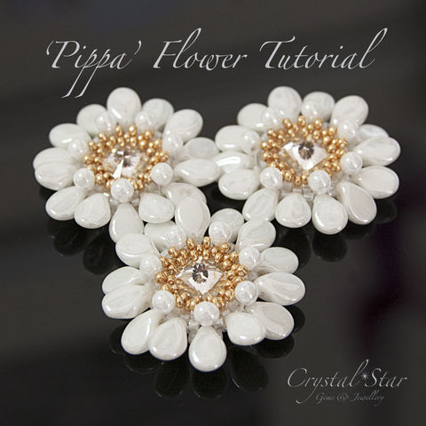 Pippa,Flower,Tutorial,Pattern, tutorial, beading, bead, how-to, learn, beginner, intermediate, advanced, cheap, PDF, download, tracey lorraine, novice, crystal, swarovksi, miyuki, toho, delica, superduo, necklace, bracelet, bangle, jewellery, jewelry, CRAW, RAW, peyote