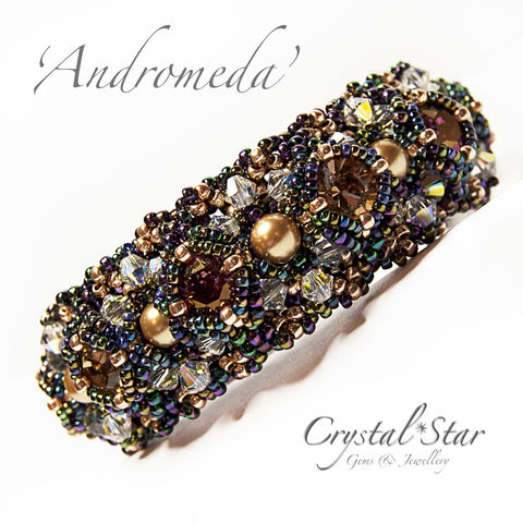Andromeda,Bracelet,Tutorial, Pattern, tutorial, beading, bead, how-to, learn, beginner, intermediate, advanced, cheap, PDF, download, tracey lorraine, novice, crystal, swarovksi, miyuki, toho, delica, ss39, 39ss, chaton, pearls, Andromeda,bracelet, bicone, bicones, jewellery, jewelr