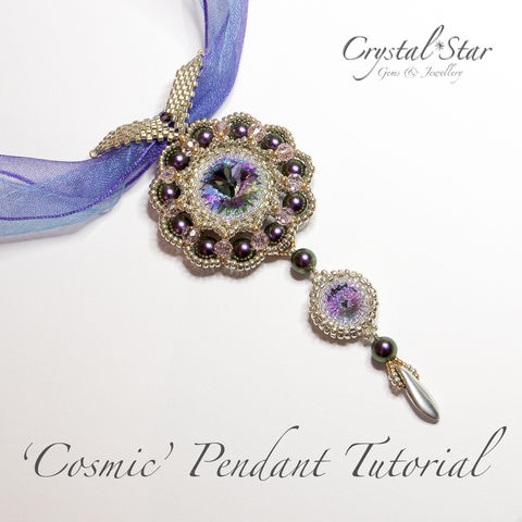 Beading,Pendant,PDF,Tutorial,-,'Cosmic',beading, PDF, tutorial,pendant, cosmic, unique, glass beads, 18mm rivoli, 12mm rivoli, bezel, pattern,instructions, handmade, beautiful gift,