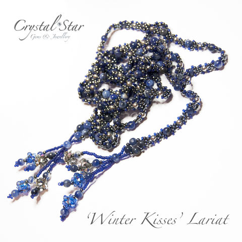Lariat,'Winter,Kisses',Tutorial,seed bead, lariat, unique, 4mm beads, handmade, beautiful gift, pattern, tutorial, instructions