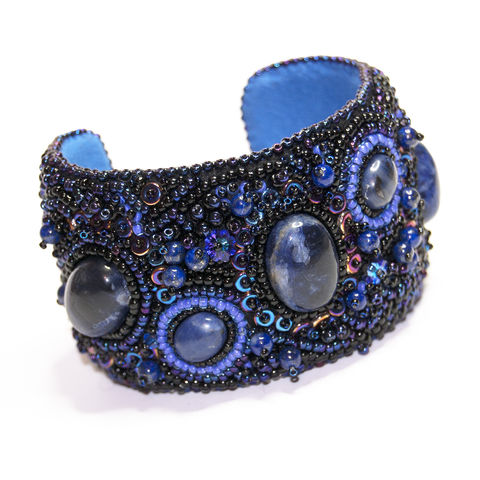 Bead,Embroidered,Cuff,-,'Galaxy',bead,embroidered,cuff,sodalite,swarovski,unique,one of a kind,tracey lorraine,dark blue, handcrafted
