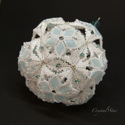 Snowball,Dodecahedron,-,Beaded,Christmas,Ornament,Beaded ornament, ornament, christmas,PDF,tutorial,pattern,instructions,geometric,handmade,gift, beading, PDF, tutorial, pattern, snowball,dodecahedron