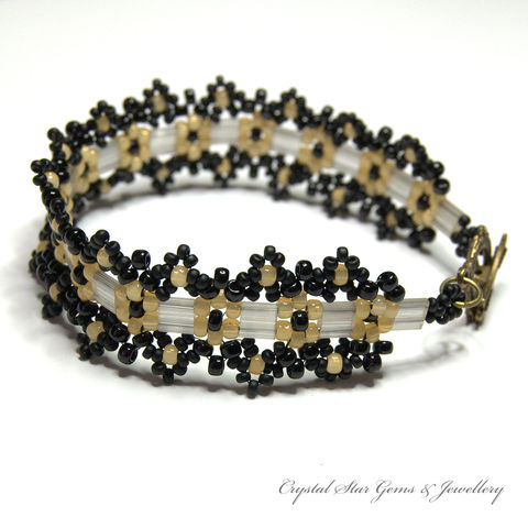 Black,and,Cream,Aztec,Daisy,Bracelet,bracelet, beaded, black, cream, daisy, aztec daisy