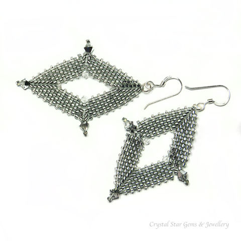 Diamond,Peyote,Earrings,diamond shape earrings, sterling silver, swarovski crystal, hand made jewellery, beaded earrings, peyote