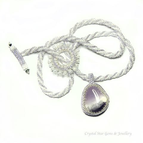 Amethyst,Pebble,Beaded,Necklace, Necklace, Hand Made Jewellery