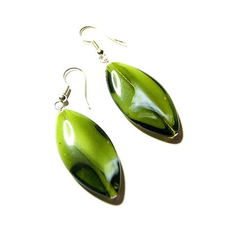 Green,Glass,Earrings,earrings, green, white, lozenge, glass