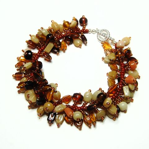 Brown,Czech,Glass,Fringe,Bracelet,brown, glass, bracelet, fringe bracelet