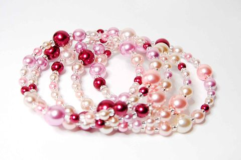 Pink,Pearl,Memory,Wire,Bracelet,memory wire, pearls, pink, czech glass