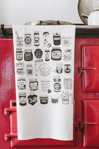 Jams,and,Chutneys,Tea,Towel,Chutneys and jams tea towel, screen printed, tea towel, hand printed, jam, kitchen, textiles, homeware,