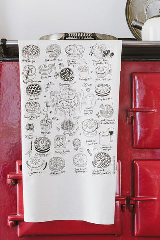 Pies,and,Tarts,Tea,Towel,Pies and tarts tea towel, screen printed, tea towel, hand printed, pies, kitchen, textiles, homeware,