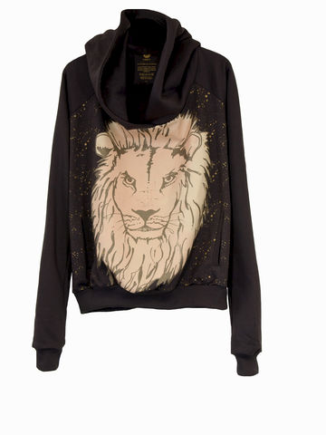 O-SIZE-HOODY-GOLD,LION,Sweatshirt, Lion, 3 Monkeys, III Monkeys , Hoody