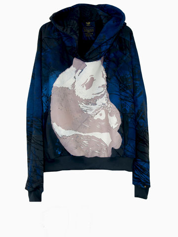 BLUE-O-SIZE-HOODY-PANDA,IN,THE,BRANCHWOOD,Hoody,Sweatshirt,3 Monkeys, III Monkeys, Panda