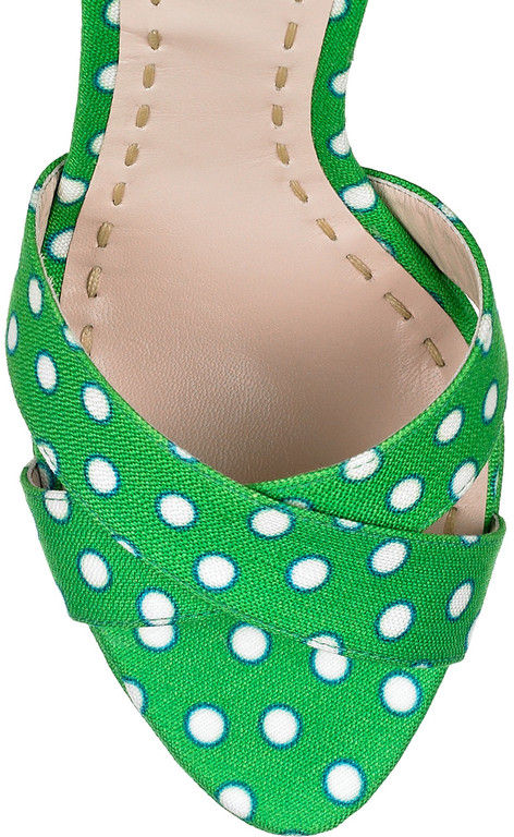 Green Polka Dot Satin Twill Sandals - product images  of